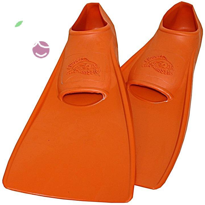 Ласты детские эластичные маленький размер 26 оранжевые закрытая пятка ProperCarry (ПРОПЕРКЭРРИ), - фото 1
